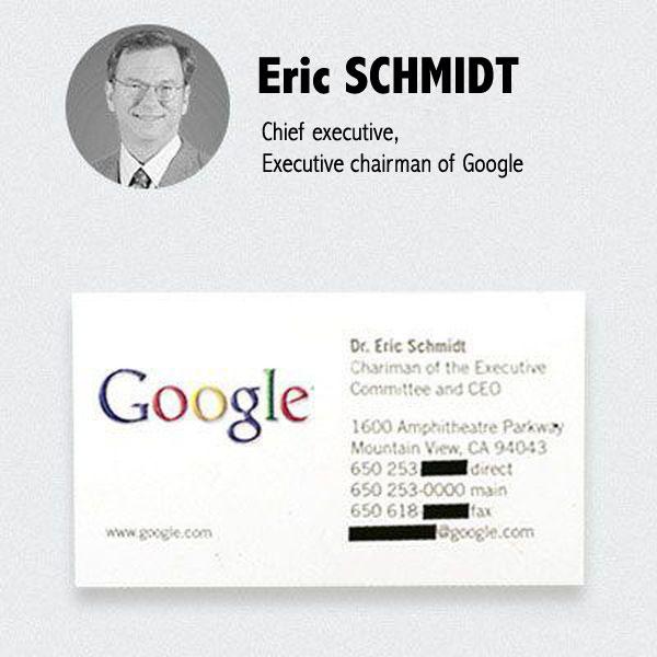 Carte De Visite Eric Schmidt Google